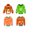 knitted jumpers with christmas patterns xmas vector image