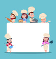 little cooks cartoon children chef with big blank vector image