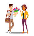 man giving flowers to woman vector image vector image