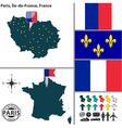 Map of Paris Ile de France vector image