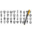 masks doodle set vector image