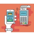 mobile payment via smartphone vector image vector image