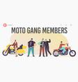 moto gang members landing page template brutal vector image