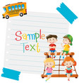 paper design with kids and school bus vector image vector image