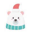 polar bear with hat scarf merry christmas card vector image vector image
