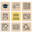 school icons set with books diploma notebook and vector image