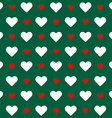 Seamless pattern White and red hearts over green vector image vector image