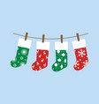 set of christmas socks vector image vector image
