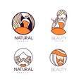 set of original logos for beauty salon linear vector image