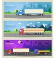 Set of web banners trucks Color flat icons vector image vector image