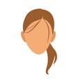 silhouette face girl cartoon vector image vector image