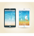 Smartphones with picture of beach and tropical sea vector image