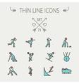 Sports thin line icon set vector image