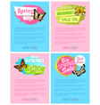 spring discount sale 15 off emblems on posters vector image vector image