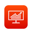 statistics on monitor icon digital red vector image vector image