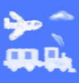 train and plane shaped cloud in the blue sky vector image vector image