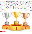 trophy cups on podium golden bronze silver vector image vector image