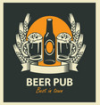 two glasses of beer bottle wheat ears and ribbon vector image vector image