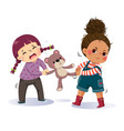 two little girls fighting over a teddy bear