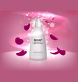 white liquid soap bottle with rose petals vector image