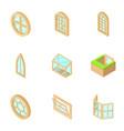 window opening icons set isometric style vector image vector image