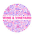 wine concept in circle with thin line icons vector image vector image