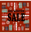 Winter sale background with black lettersgifts vector image