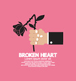 Wither Rose In Hand Broken Heart Concept vector image