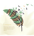 writing pen multicolored feather vector image