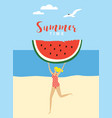 Young running woman with big piece watermelon