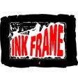 Black grungy ink frame vector image