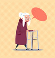 senior woman with chat bubble modern grandmother vector image