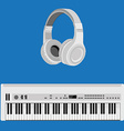 Headphones and synthesizer vector image