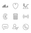 9 website icons vector image vector image