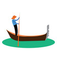 a man propelling a small narrow boat known as vector image