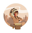 american indian cartoon in round icon vector image