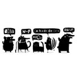 animals black ink set talking sounds vector image vector image
