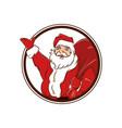 badge funny santa claus hold big sack vector image