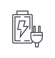 battery charger line icon sign vector image vector image