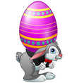 cartoon easter bunny carrying easter eggs vector image vector image