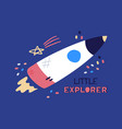 cartoon flat rocket starship flying up flat vector image vector image