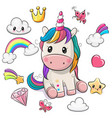 cartoon unicorn and set cute design elements vector image vector image