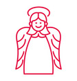 christmas angel with halo and wings liner icon in vector image