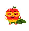 cute cartoon smiling apple superhero in mask and vector image