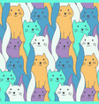 cute color hand drawn doodle cats pattern vector image vector image