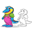 Cute crocodile cartoon mascot vector image
