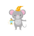 cute little mouse in night cap with burning oil vector image vector image