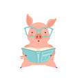 cute smart little pig reading a book funny piglet vector image vector image