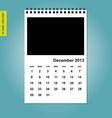 December 2013 calendar vector image vector image