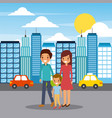 family walking happy in the city street vector image